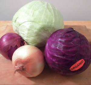 Organic food is better for health and taste. Fresh cabbage and onions shown here.