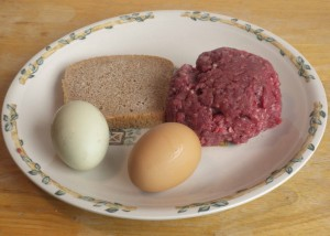 Ingredients for Frugal Traditional Grassfed Burger: US Wellness Meat; pastured eggs; and natural bread