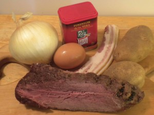 Ingredients for Hungarian Hash Recipe: leftover grass-fed meat, bacon, organic potatoes, pastured eggs, organic onions, and Hungarian paprika.