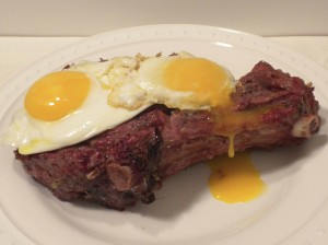Tender grassfed rib steak with pastured eggs.