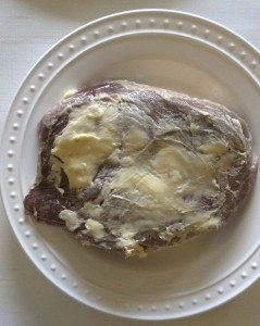 Grass fed steak coated with pastured butter.