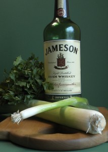 Fresh ingredients and Jameson Irish whiskey for Grass-fed Champion's Portion with Green Marinade