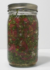 Raw vegetable salsa made with organic Vidalia onions