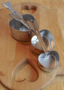 Heart-shaped measuring cup for romantic scoops on Valentine's Day!