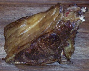 Super-Tender Double Bison Chop from Tender Grassfed Meat, nicely browned, with very rare interior.