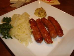 Sausages and sauerkraut.