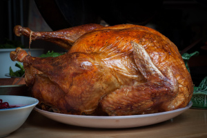 Classic roast turkey with it's delicious skin.